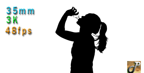 VideoHive Long Hair Woman Silhouette Drinking Water 10141684