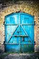 Iron gate, blue paint - PhotoDune Item for Sale