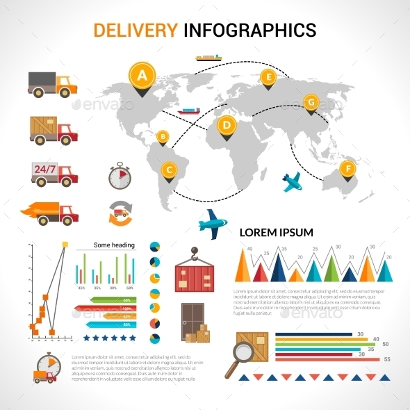 GraphicRiver Delivery flat infographics set 10142009
