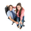 Top view of man and woman sitting together in armchair - PhotoDune Item for Sale