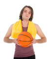Man in sports wear with basketball, isolated on white - PhotoDune Item for Sale