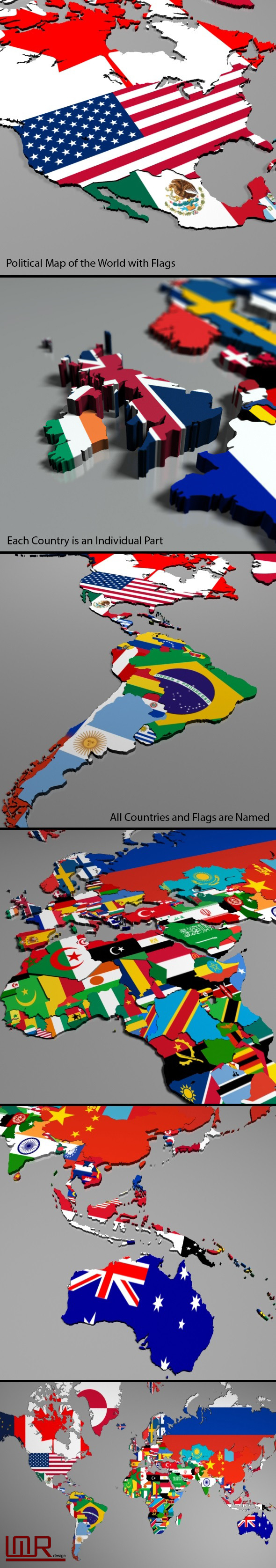 3DOcean Political Map of the World with Flags 10142766