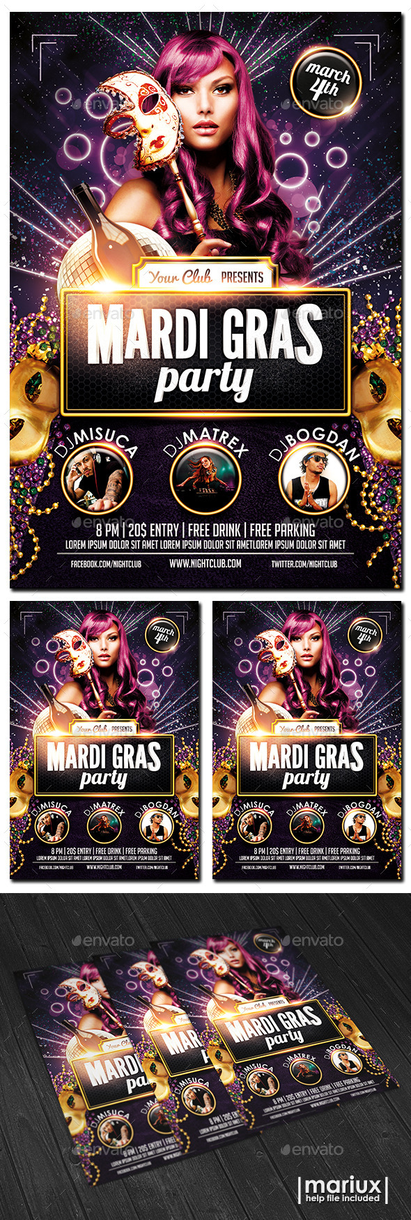 GraphicRiver Mardi Gras Party Flyer 10142800