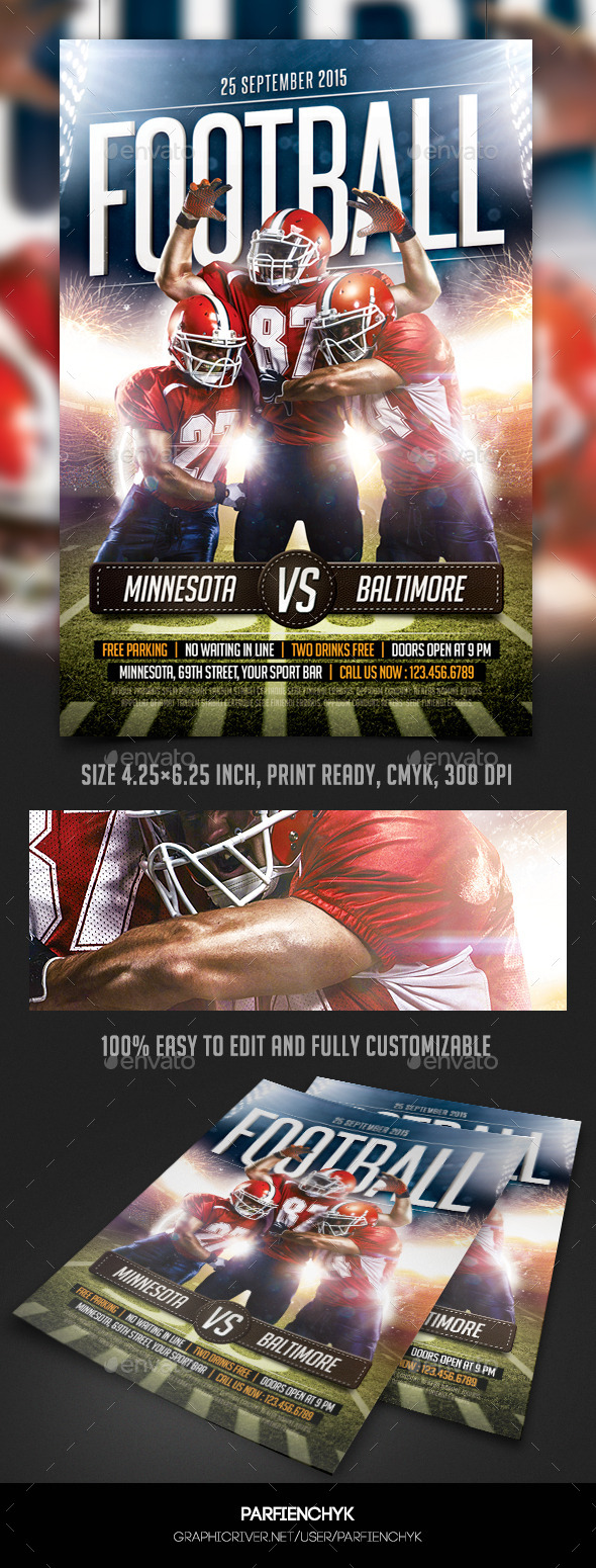 GraphicRiver Football Game Flyer Template 10142820