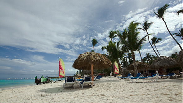 VideoHive Tropical Beach With Chaise-Longues Sun Umbrellas 10143523
