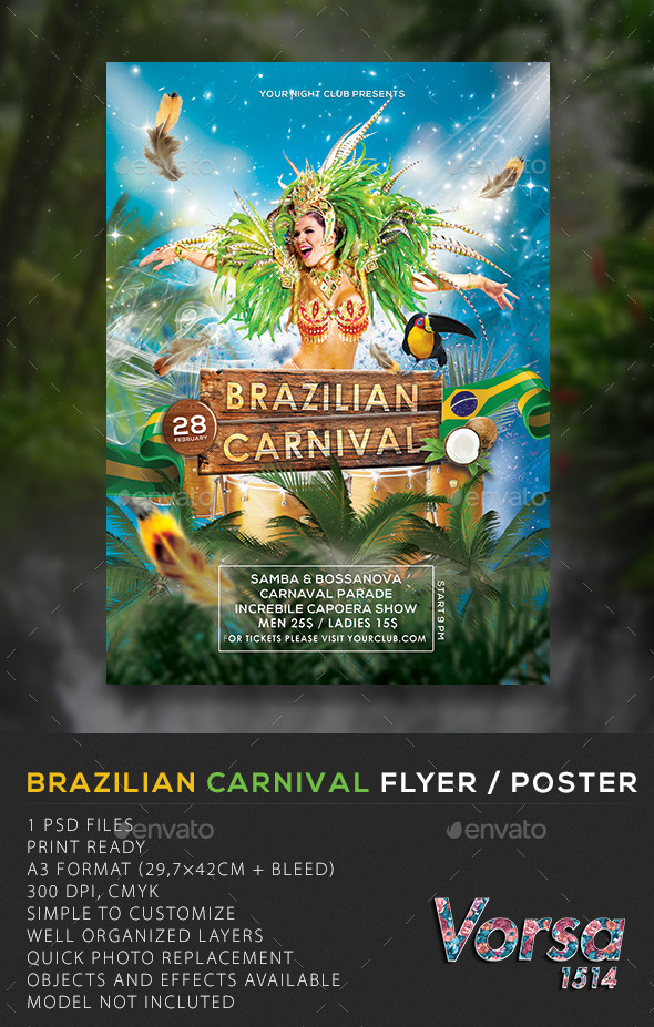 ... carnival flyer poster 10095827 photoshop print template flyers events