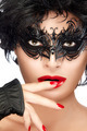 Beauty Fashion Model Woman Face in Black Masquerade Eye Makeup - PhotoDune Item for Sale