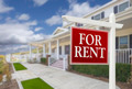 Red For Rent Real Estate Sign in Front of Beautiful House. - PhotoDune Item for Sale