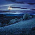 fence on hillside meadow in mountain at night - PhotoDune Item for Sale