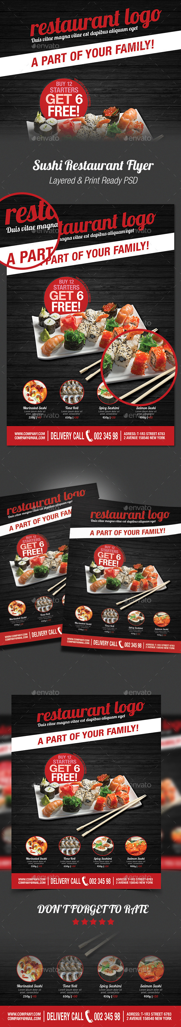 GraphicRiver Sushi Restaurant Flyer 10144234