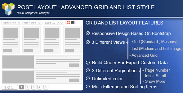 11. Advance Post Grid/List with custom filtering for Visual Composer