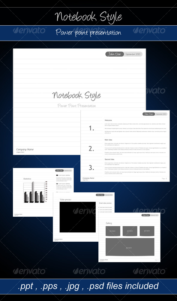 GraphicRiver Notebook Style Power point presentation 127176