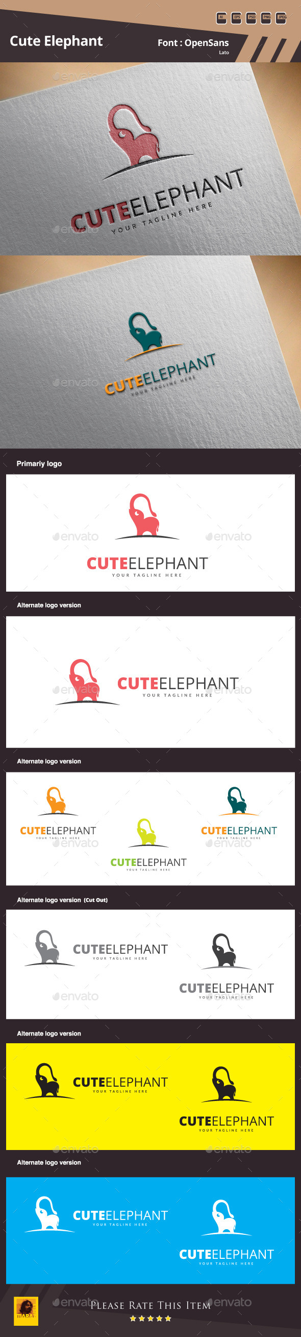 GraphicRiver Cute Elephant Logo Template 10145010