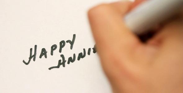 Handwriting Happy Anniversary