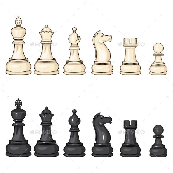Vector Set of Cartoon Chess Figures