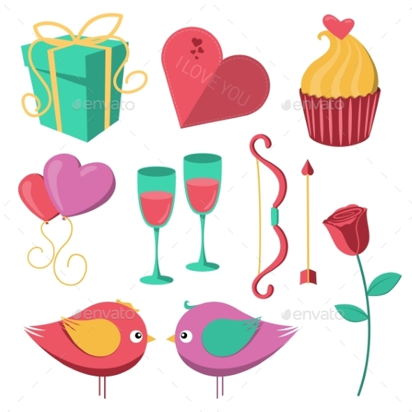 GraphicRiver Saint Valentine s Day Objects Set 10145715