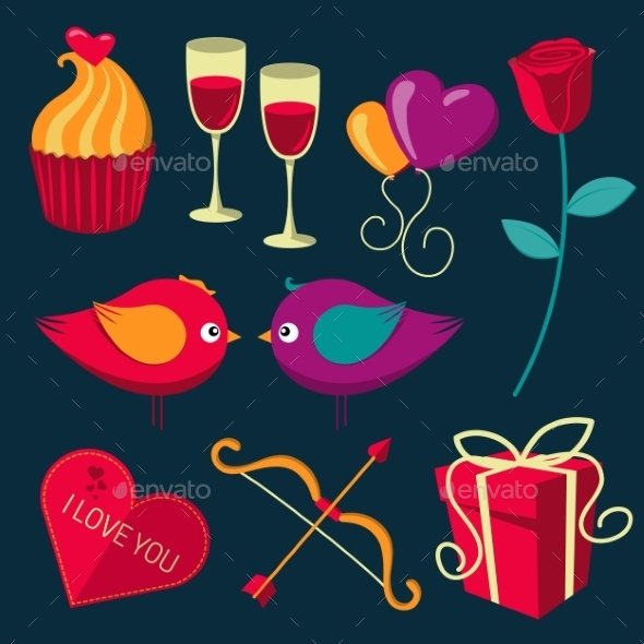 GraphicRiver Saint Valentine s Day Objects Set 10145718