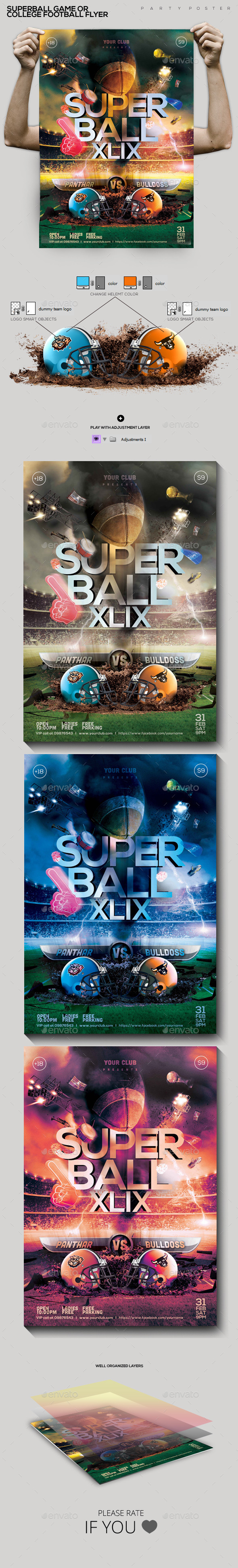 GraphicRiver SuperBall Game or College Football Flyer 10145773