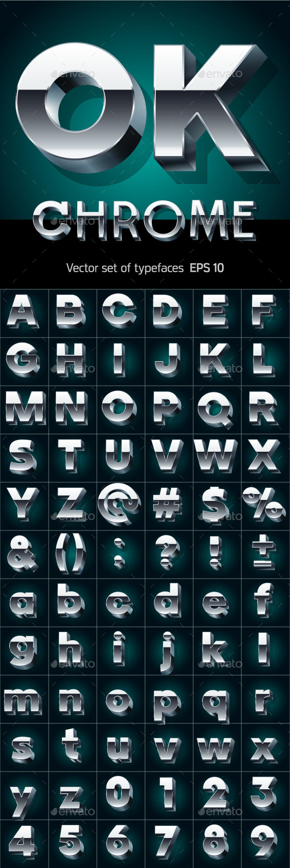 GraphicRiver Illustration of Silver or Aluminum 3D Alphabet 10145867