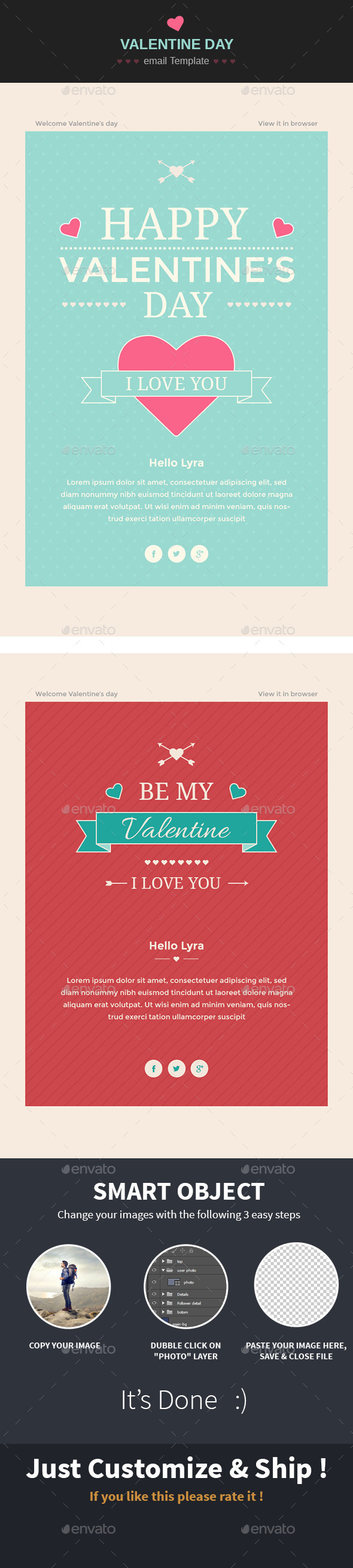 Happy Valentine wishes Email Template