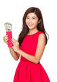Woman hold pocket money with USD - PhotoDune Item for Sale