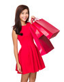 Chinese Woman hold with red shopping bag - PhotoDune Item for Sale