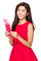 Woman with unwrapped chinese red pocket - PhotoDune Item for Sale