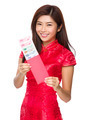 Woman hold with red lucky money with RMB - PhotoDune Item for Sale