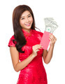 Chinese woman hold with lucky money with USD - PhotoDune Item for Sale