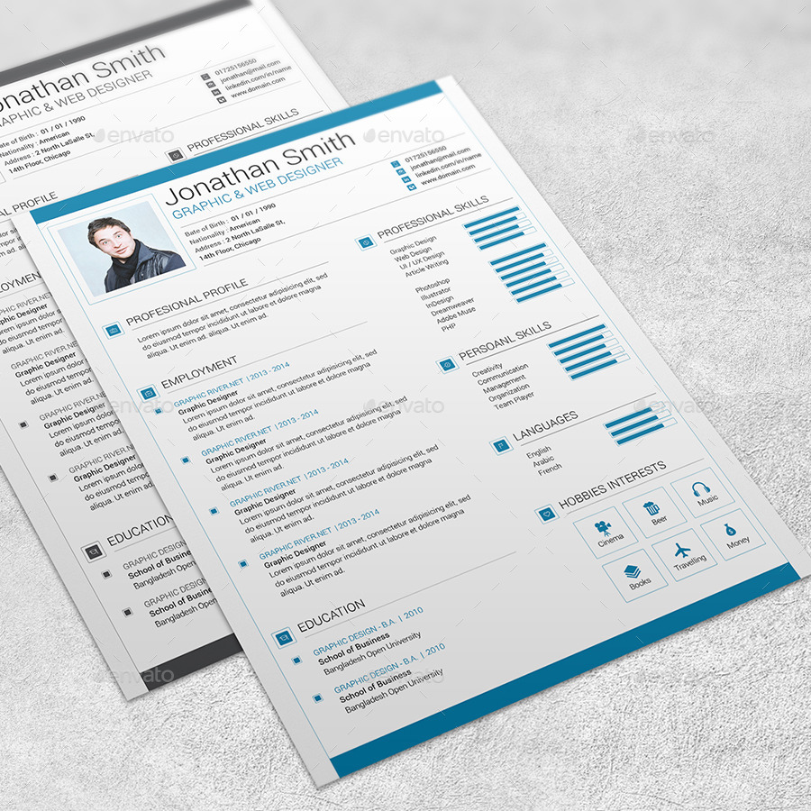 modern resume template 02 by marufstudio graphicriver modern resume template 02