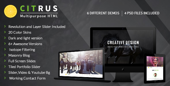 Citrus - One Page Parallax Portfolio - Corporate Site Templates