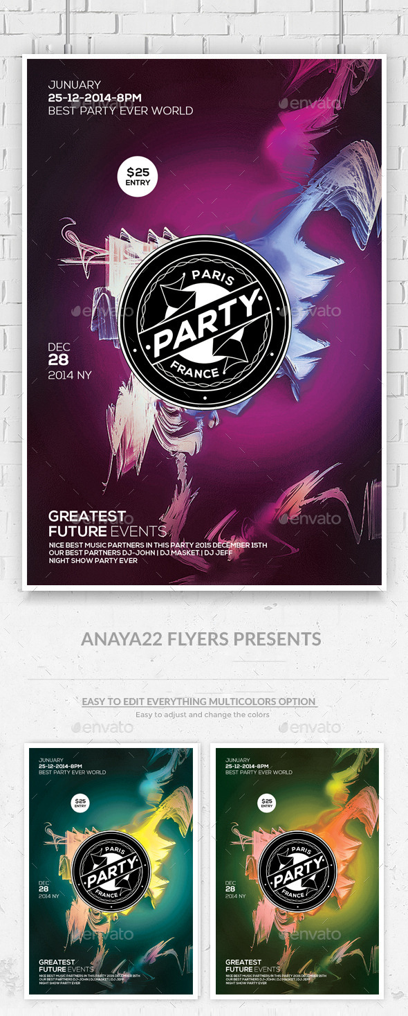 GraphicRiver Electro Color Sounds Party Flyer 10147531