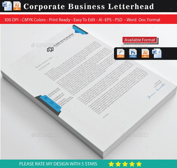 GraphicRiver Creative & Modern Letterhead with Word Docx 10147572