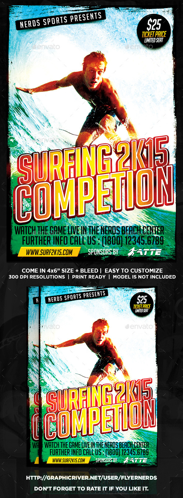 GraphicRiver Surfing 2K15 Competition Sports Flyer 10147582