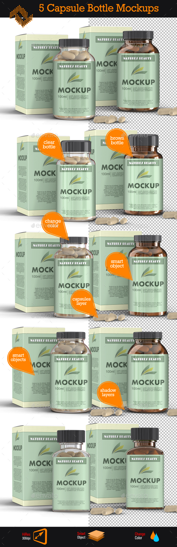 GraphicRiver 5 Supplement Capsule Bottle Mockups 10148118