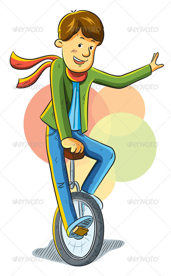 Graphic River Unicycle Boy Vectors -  Characters  People 1022443