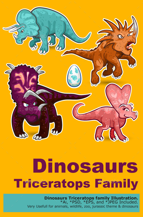 GraphicRiver Triceratops Rhino Dinosaurs Sticker Collection Set 10148563