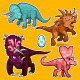 Triceratops Rhino Dinosaurs Sticker Collection Set - GraphicRiver Item for Sale