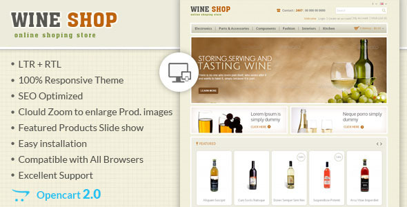 Wine Shop - Responsive OpenCart Theme - OpenCart eCommerce
