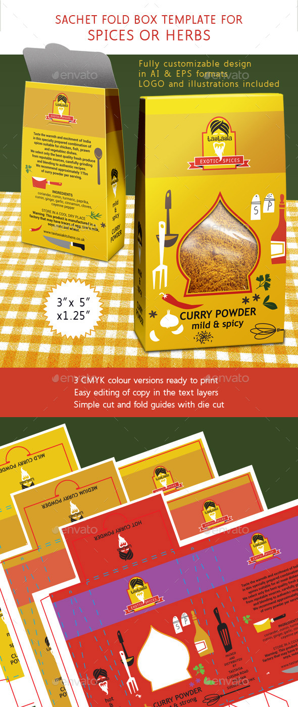 GraphicRiver Spice or Herbs Box with Die Cut Shape 10148744