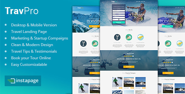 ThemeForest TravelPro Travel Instapage Landing Page 10068475