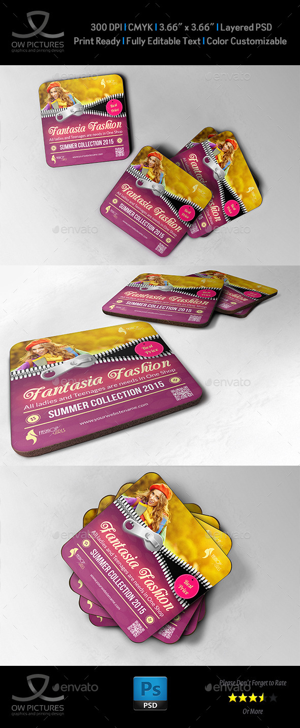 GraphicRiver Fashion Coaster Drink Pad Template 10150086