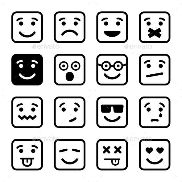 GraphicRiver Square Smiley Faces Set Vector 10150425