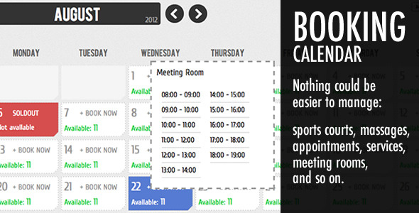 Booking Calendar - CodeCanyon Item for Sale