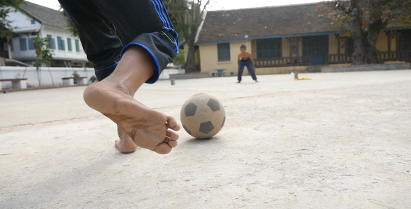 Kid Doing Kick With Ball