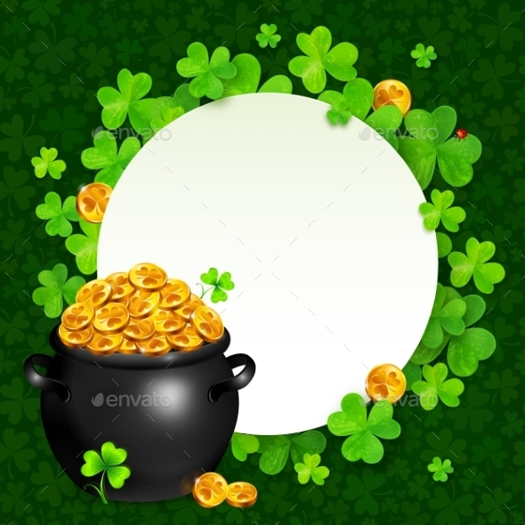 GraphicRiver Black Pot of Magic Gold on Clovers Circle 10152611