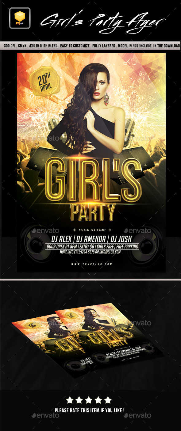 GraphicRiver Girls Party Flyer 10120492