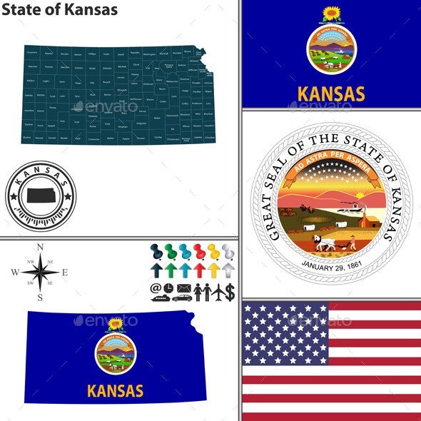 GraphicRiver Map of State Kansas USA 10154907