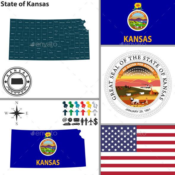 Map of State Kansas USA