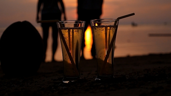 VideoHive Two Glasses of Soft Drink at Sunset 10155008